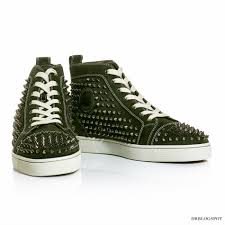 christian louboutin english green louis spikes flat sneakers
