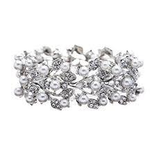 wedding bracelet pearl images Accessoriesforever bridal wedding jewelry crystal jpg