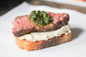 beef tenderloin menu dinner party beef tenderloin crostini with whipped goat cheese and pesto