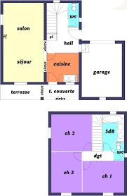 plan maison etage 3 chambres plan maison 60m2 3 chambres