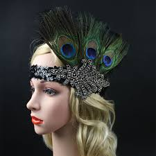 1920s headband womens flapper rhinestone peacock feather headband 1920s headpiece