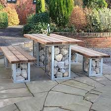 outdoor table ideas home dzine garden gabion style outdoor table set outdoor living