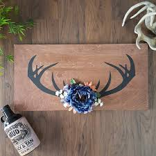 deer antlers gift for her boho decor wood sign rustic blue
