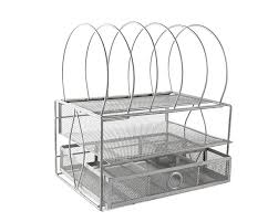 mesh desktop file organizer with double tray and 5 stackable