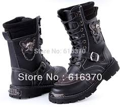 s lace up combat boots size 11 s high top shoes mid calf boots rivets skull chain pu