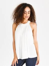 halter neck edit halter neck top with trim white spree co za
