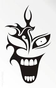black tribal laughing clown stencil drawings