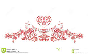 valentines heart frame greeting ornaments vintage vector stock