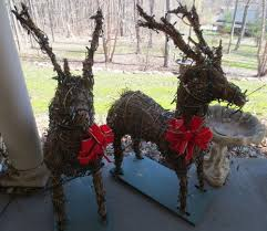 Lighted Santa And Reindeer Outdoor by 2vtg Indoor Outdoor Lighted Wicker Deer Reindeer Xmas Yard Decor