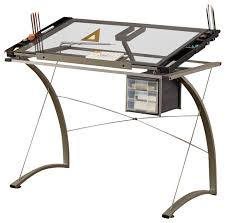 Desk With Drafting Table Handy Lifting Tempered Glass Top Chrome Metal Artist Drafting