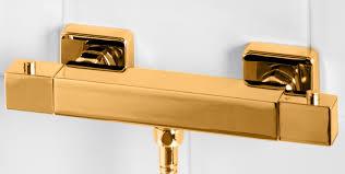 dorato square thermostatic bar shower valve in 24ct gold