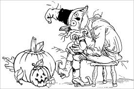 creepy coloring pages creepy scarecrow and pumpkins coloring page download u0026 print