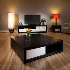 living room in brown and black with a smart coffee table eva