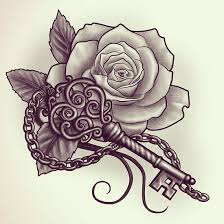 love key and rose tattoo design freetraining video will show you