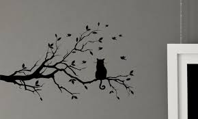 Wall Stickers Cats Cat In A Tree Bird Kitty Leaf Branch Wall Decal Mural Vinyl