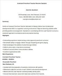 Kindergarten Teacher Resume Examples by We Found 70 Images In Preschool Teacher Resume Sample Gallery