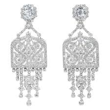 diamond chandelier earrings amazing deco style faux diamond chandelier earrings at 1stdibs