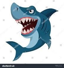 hungry angry cartoon great white shark stock vector 378575734