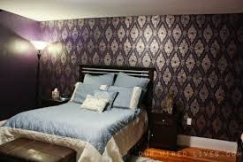 Purple Bedroom Feature Wall - eggplant purple bedroom painting u0026 stencil reveal our wired lives