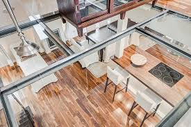 Glass Floor L Houses L Shaped Kitchen Counter With A Spacious Serving