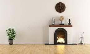minimalist fireplace empty room with minimalist fireplace stock illustration
