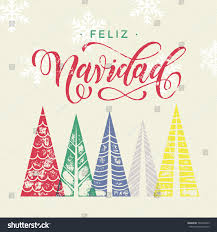 merry christmas modern colorful winter stamp holiday spanish greeting stock vector