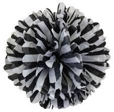 black and white striped tissue paper tissue paper pom pom flower 14inch striped black