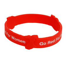 red silicone bracelet images Go red for women 3 d silicone bracelets aha shop heart png