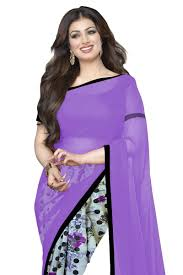 buy wama fashion georgette flower design purple color printed