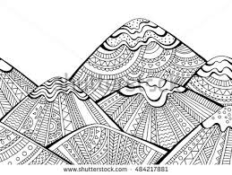 free printable coloring pages for adults landscapes printable coloring page adults mountain landscape stock vector hd