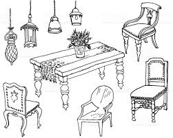 dining room furniture classic sketch stock vector art 657673398