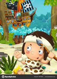cartoon caveman on the shore pirate ship on the water captain