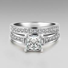silver bridal rings images 1 0 ct brilliant princess cut 925 sterling silver engagement jpg
