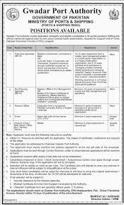 gwadar port authority job free zone specialist port planning