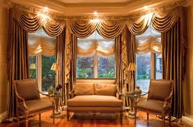 Drapery Designs For Bay Windows Ideas Swag With Tails And Panels With Austrian Shades For Bay Window