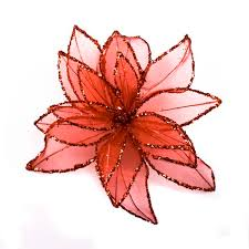 decorative flower red fabric glitter decorative flower on a clip 20cm