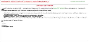 audiometric technician work experience certificate