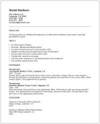 Resume Examples For Medical Office by Resume Template For Receptionist Medical Office Resume Objective
