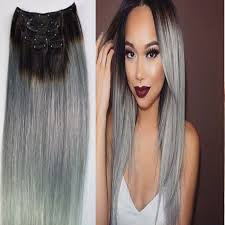 silver hair extensions ombre silver gray clip in human hair extension hot