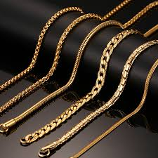 gold necklace chains wholesale images Vnox 24inch gold color chain necklace long stainless steel metal jpg