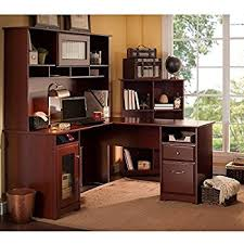 amazon com cabot l shaped desk with hutch and lateral file