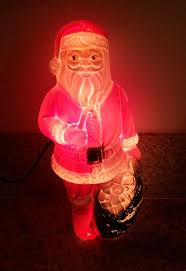 vintage santa with toys illuminated mold light