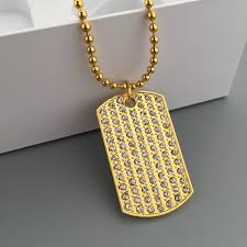 tag chain necklace images Fashion dog tag pendant hip hop bling full rhinestone charm new jpg