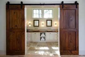 exciting orange wooden sliding barn door bath room hanging on
