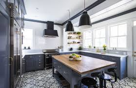 kitchen room dark blue kitchen cabinet white granite countertop