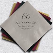 personalized 60th anniversary napkins 25 colors