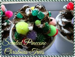 making scented pinecone christmas trees
