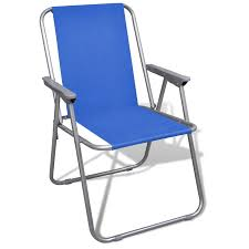 vidaxl co uk folding chair set 2 pcs camping outdoor chairs blue