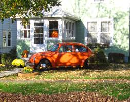 scary halloween garden decor scary car carved pumpkin orange car