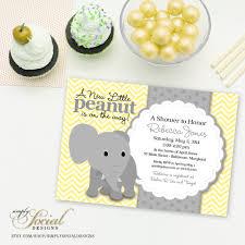peanut baby shower elephant baby shower invitation yellow chevron and grey